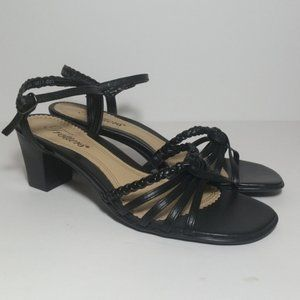 NWOT Trotters Leather Braided Strap Heeled sandals